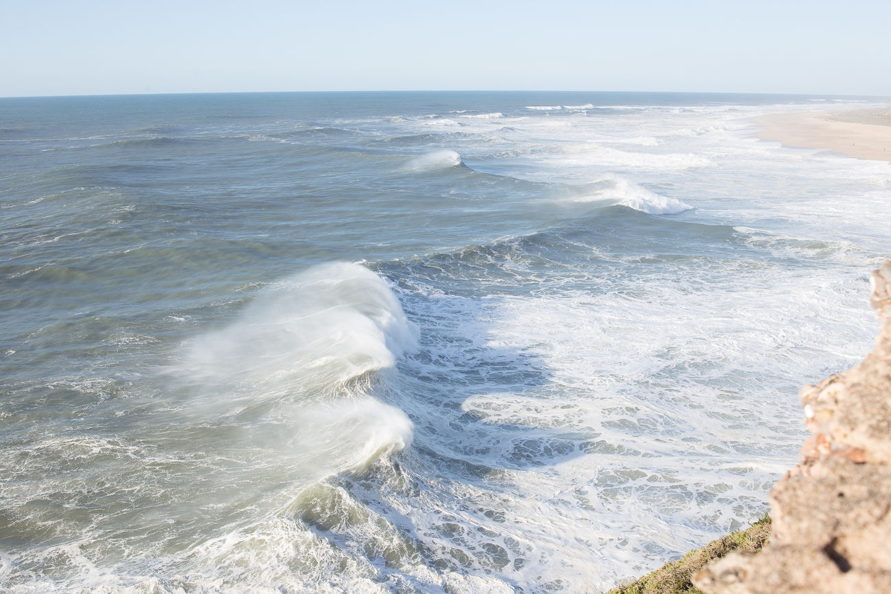 beautiful portugal Beach Beauty In Nature Clear Sky Crash Day Force Hitting Horizon Over Water Motion Nature No People Ocean Outdoors Power In Nature Sea Sky Water Wave