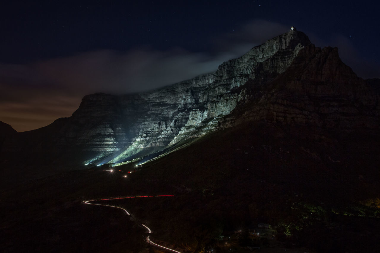 Table Mountain - nightscape Cape Town Cliff Long Exposure Majestic Mountain Nature Nightphotography Rock Formation Tablemountain Market Bestsellers June 2016 Bestsellers