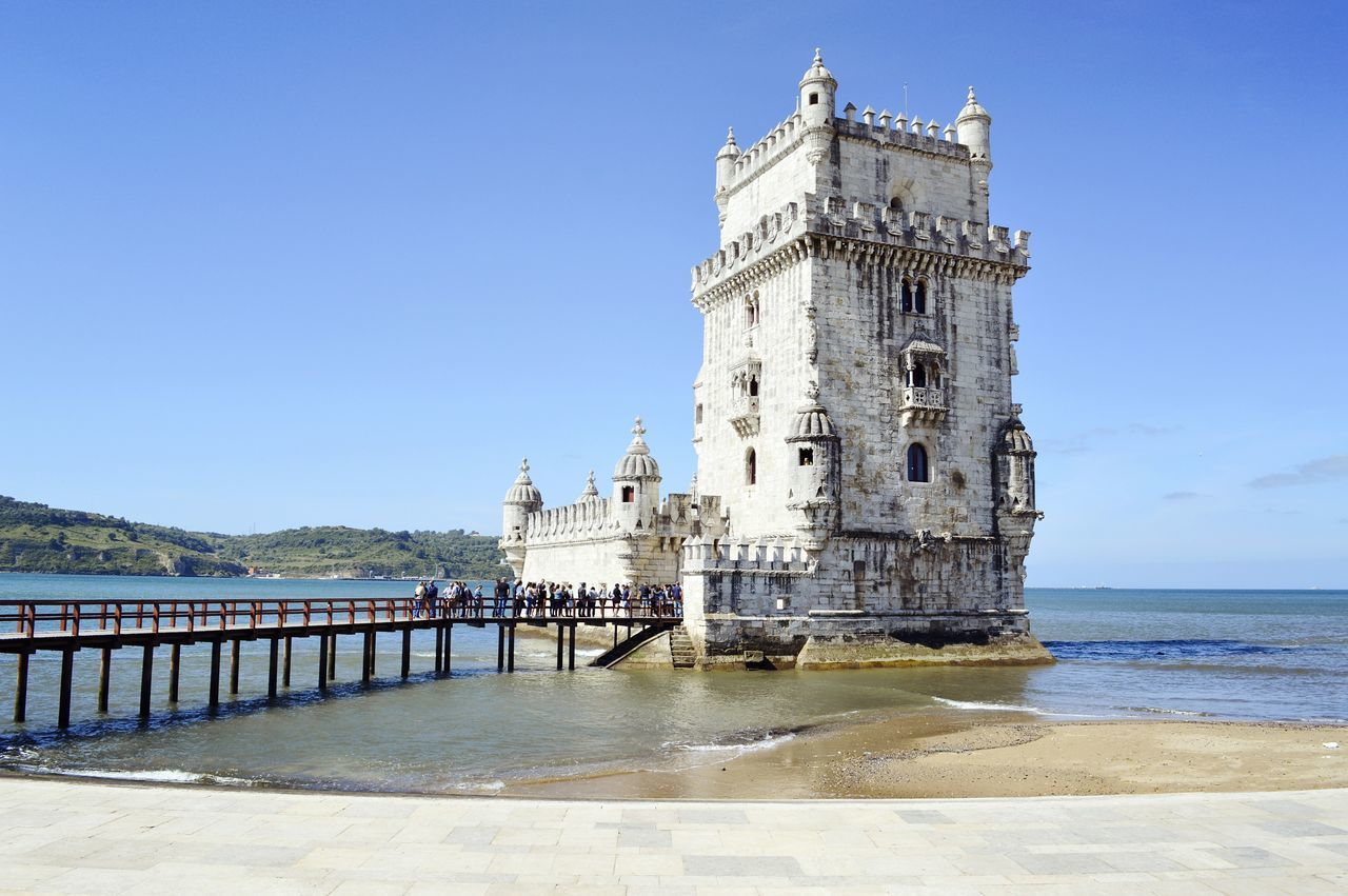 Torre de Belém History Tower Travel Destinations Sky Water Architecture Vacations Sea Blue Clear Sky Travel Photography EyeEmNewHere WeekOnEyeEm Streetphotography Torre De Belém Landscape_Collection Hidden Gems  Lisbon, Portugal