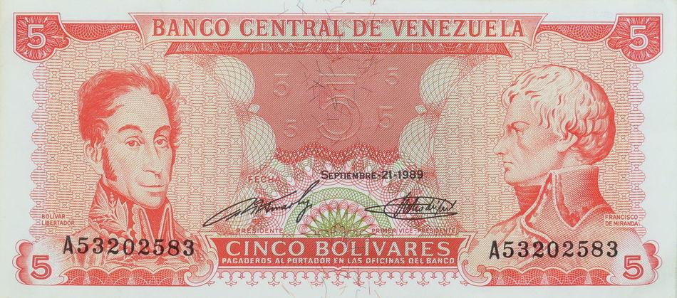 Alte Geldscheine Banco Central Bolivarische Republik Venezuela Cinco Bolivares Curency Fife  Geld Geldscheine Money No People Paper Papiergeld Südamerika Venezuela Währung