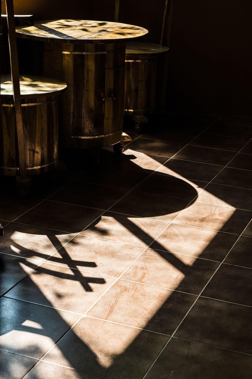 tiled floor, shadow, flooring, indoors, no people, sunlight, day