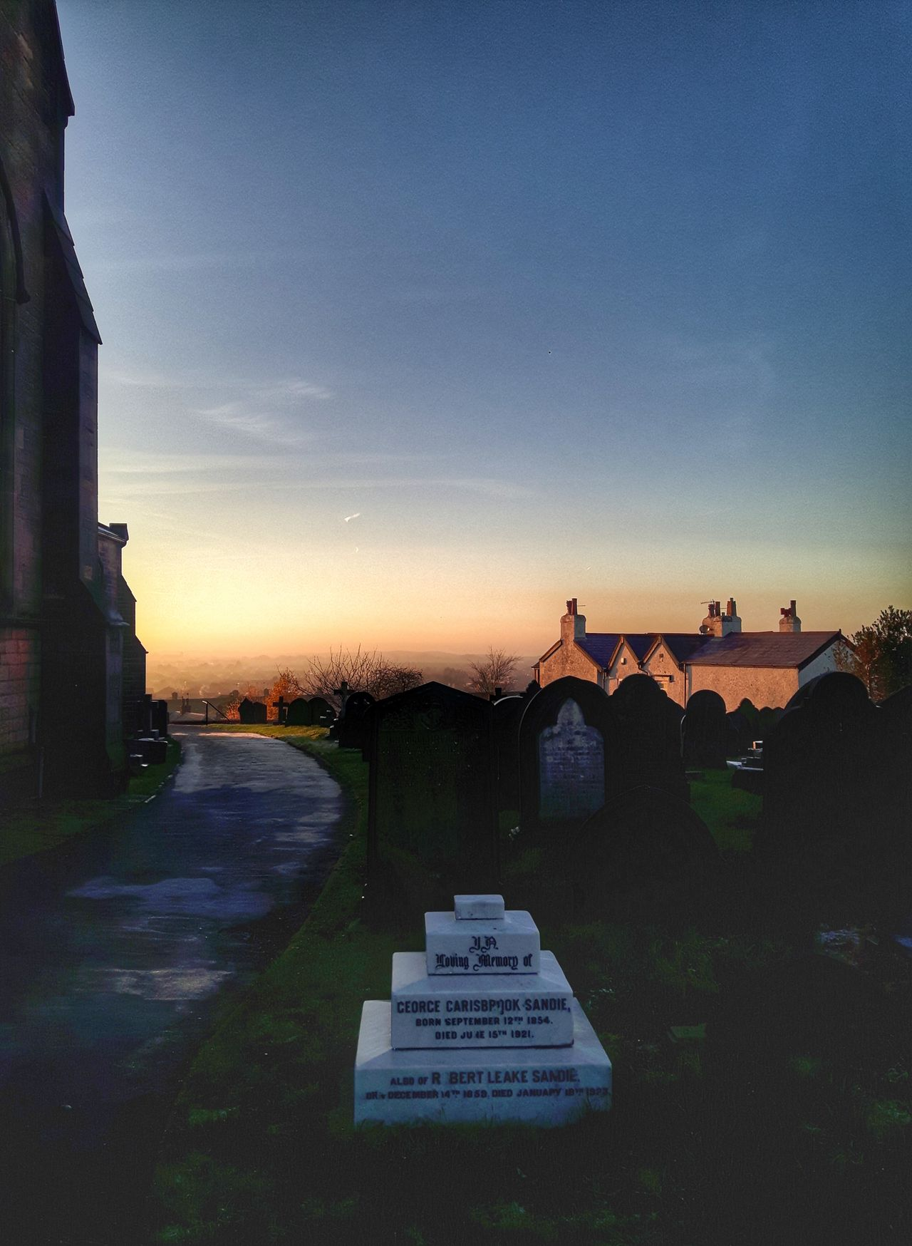 Sunset Sky No People Landscape Nature Day Churchyard Tombstone Outdoors