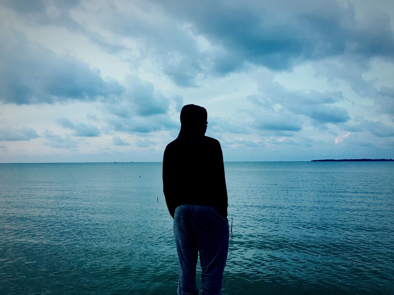 Goodday Dark Sea Goodbye Standing Horizon Over Water Three Quarter Length Sky Standing Cloud - Sky One Person Scenics Water Tranquility Silhouette Real People Men Outdoors Beauty In Nature Nature Day One Man Only Adults Only