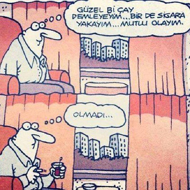 Olmadi.. Karikatur Yigitozgur Mutluluk Dedigin cay sigara