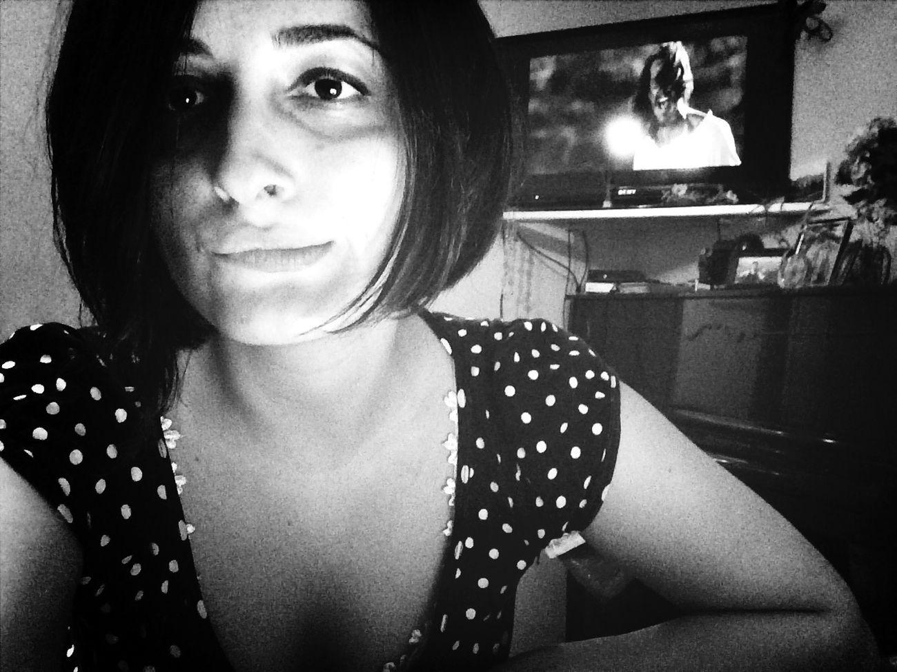 Selfie Selfshot Black And White Watching Tv