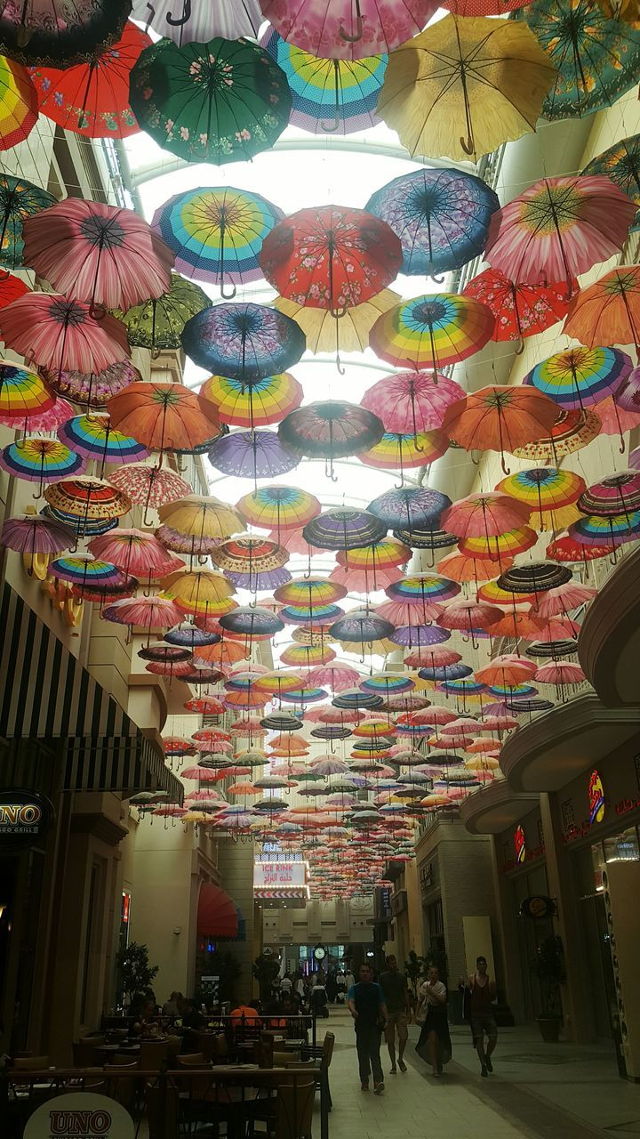 Interior Of Building Decorated With Colorful Umbrellas