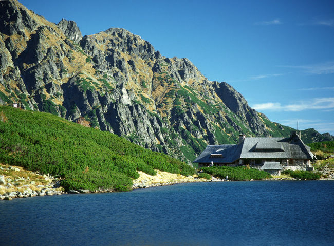 Beauty In Nature Day Dolina Pięciu Stawów Lake Landscape Mountain Mountain House Mountain Lake Mountain Shelter Mountains Nature No People Outdoors Polaroid Scenics Shelter Sky Wooden House