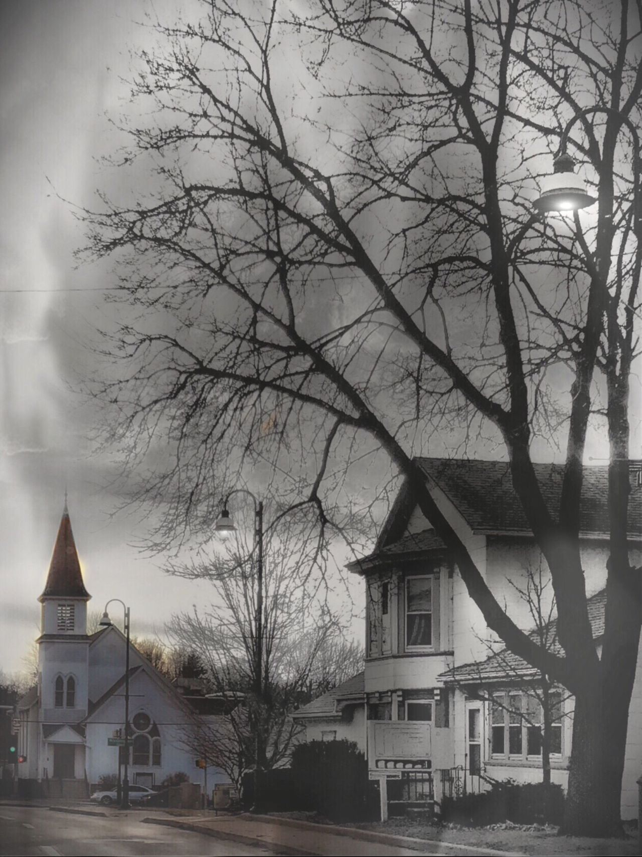 The White Church Architecture Bare Tree Building Exterior Tree Winter Built Structure Snow Cold Temperature Weather No People Religious Architecture Religious Place Residential Building City Downtown District Nature Outdoors Sky Day Beauty In Nature Oswego, IL Oswego, IL Downtown Oswego, IL