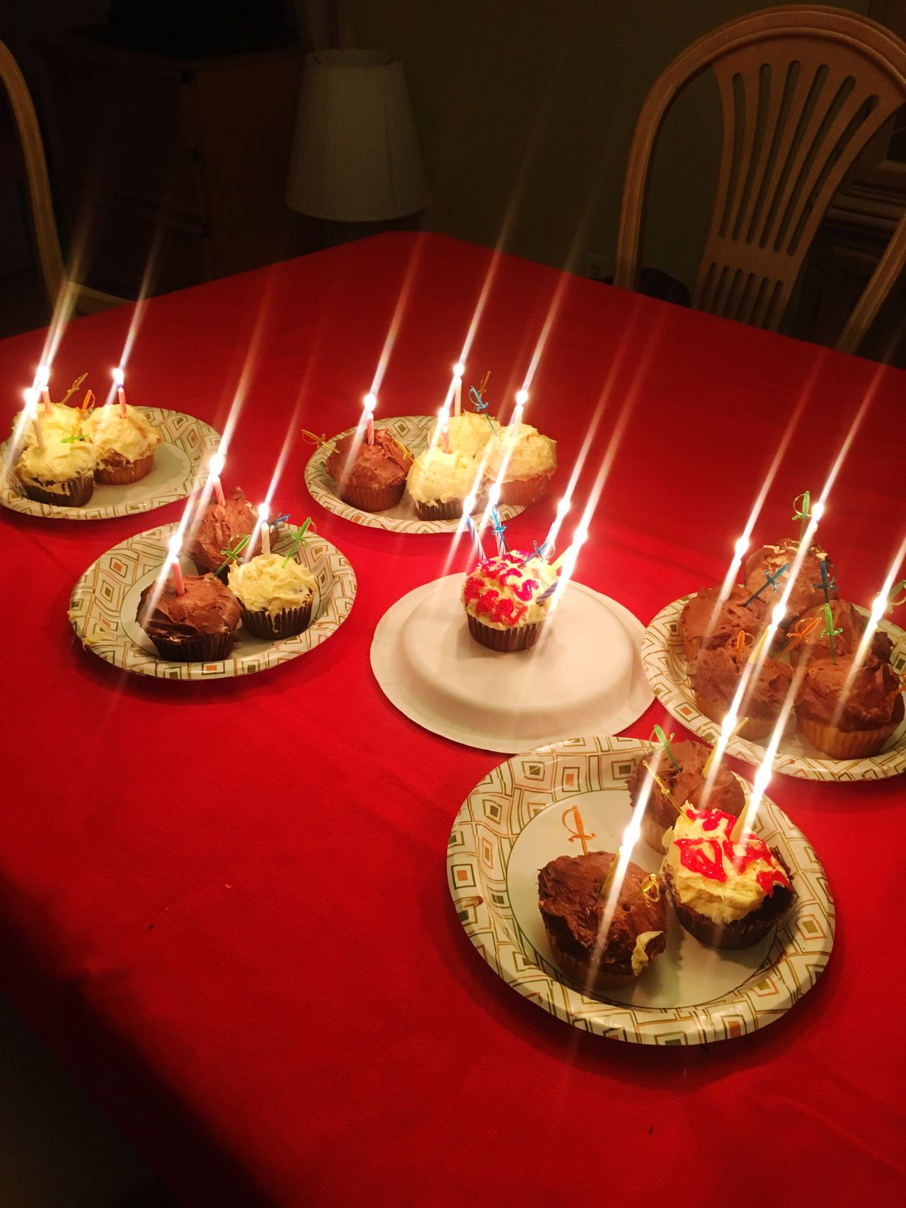 Celebrating My Birthday Son 23candles Cupcakes Red Tablecloth Home Is Where The Art Is Candles Glowing