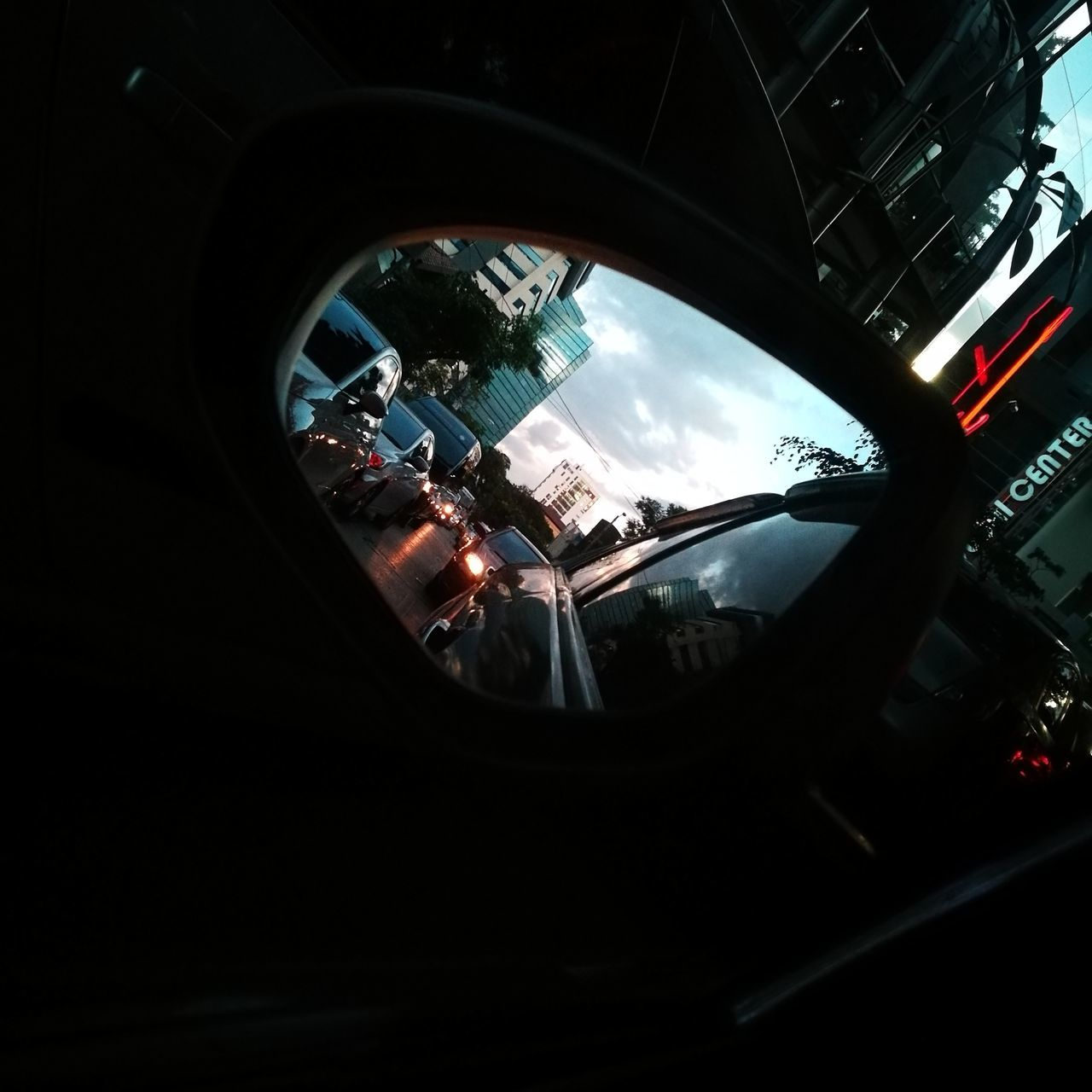 reflection, car, window, transportation, side-view mirror, land vehicle, indoors, no people, day, sky, architecture, close-up