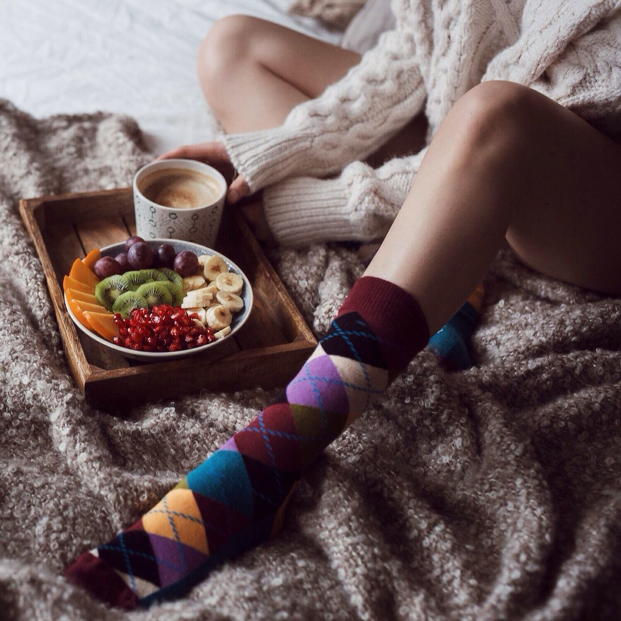 My Favorite Breakfast Moment Breakfast Bed Cozy Socks Socksoftheday Home Tablet Coffee Girl Leg Sweaterweather Vegan Food Healthy Food Market Reviewers' Top Picks EyeEm X My Muesli - Breakfast Moment