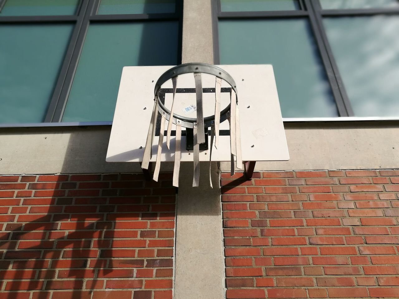 building exterior, architecture, built structure, low angle view, brick wall, no people, day, red, window, outdoors, basketball hoop