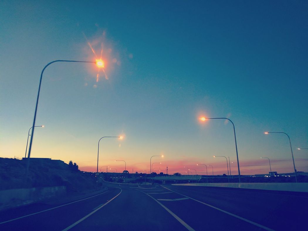 Empty freeway Street Light Road No People Outdoors Illuminated Sky Red Light Freeway Freewayphotography Evening Light Summer Urban Australia Leftside Leftsideoftheroad Tritone Sky And Clouds