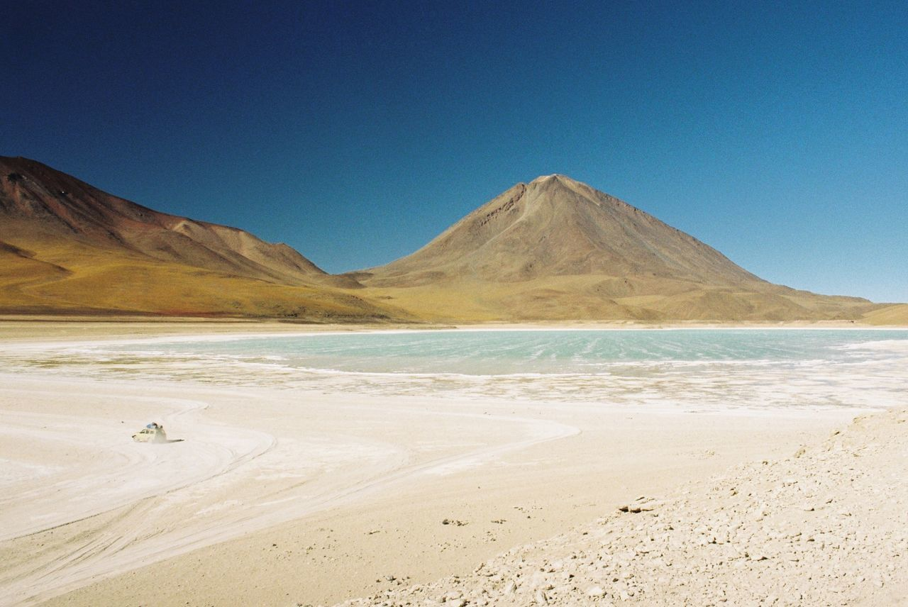 Filmisnotdead Analogue Photography 35mm Film Sand Beach Scenics Nature Tranquility Beauty In Nature Clear Sky Tranquil Scene Outdoors Mountain Landscape Sky Day Water Sea Vacations No People Bolivia South America