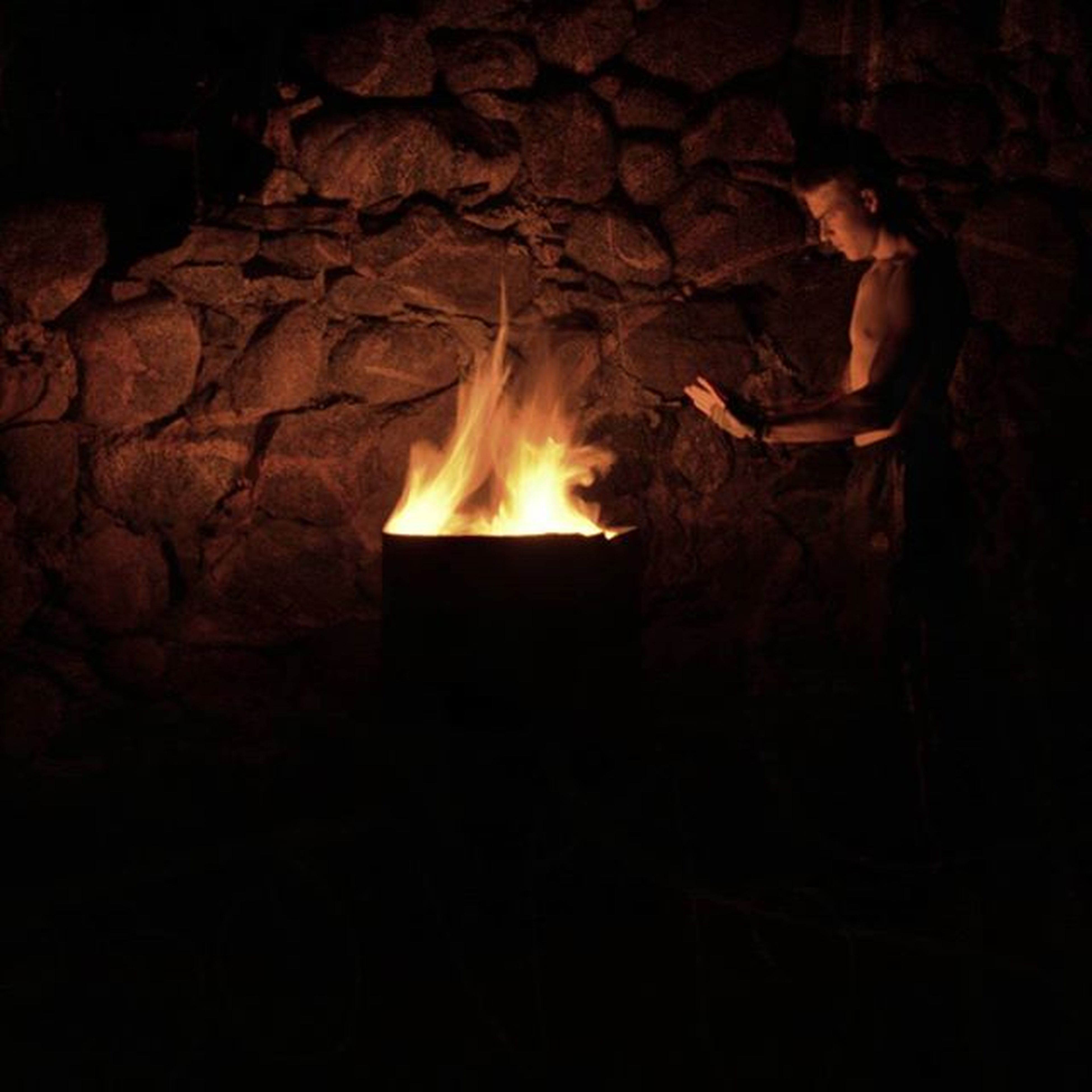 flame, burning, fire - natural phenomenon, heat - temperature, night, glowing, dark, indoors, illuminated, fire, heat, light - natural phenomenon, bonfire, cave, darkroom, close-up, no people, firewood, copy space, motion