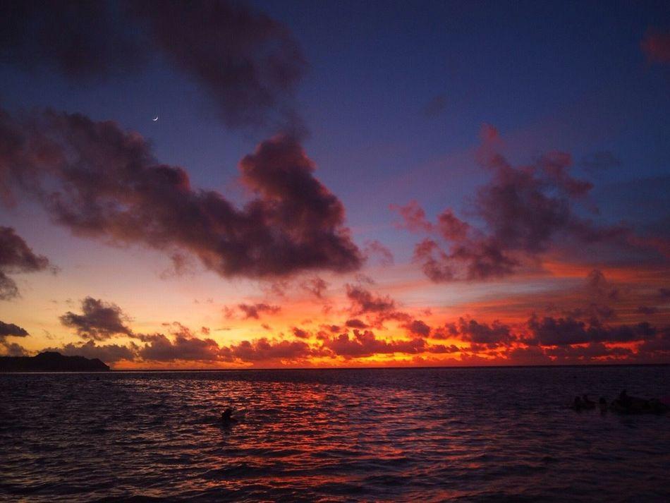 Lookback on Sweetmemories No.2. IT'S a Sunset of Guam , Tumon Beach . Clouds And Sky Ocean Beautiful Likeadream Dreaming Hafaadai Beach BeachSunset Nofilter Taking Photos Thanksforfollowing Thanksforlike