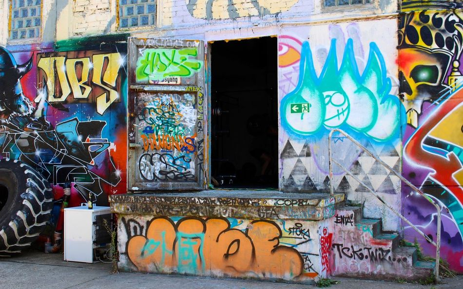 Graffiti'd steps and entrance in Friedrichshain, Berlin Art Color Colorful Colors Creativity Door Friedrichshain Graffiti Graffiti Graffiti Art Graffiti Wall Graffitiart Graffitiporn Graffitti Grafitti Multi Colored Neue Heimat Street Streetart Wall Wall - Building Feature