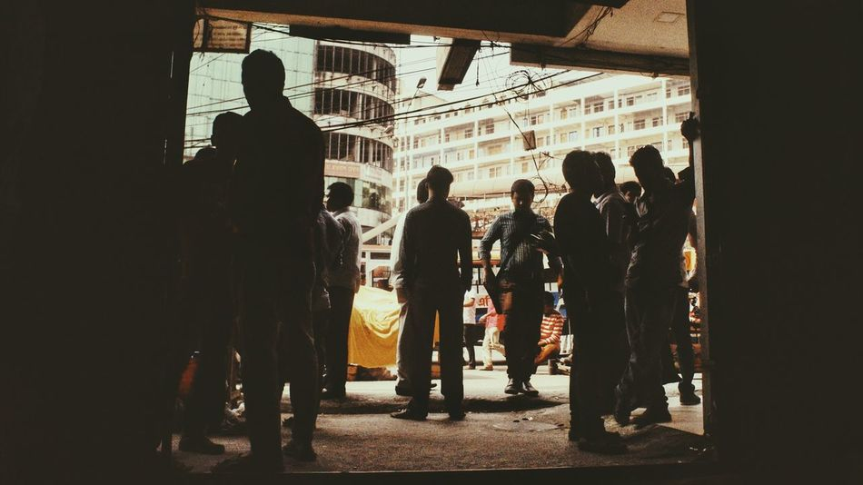Silhouette Lifestyles Urban Bangladesh Diaries Color Photography Only Men People Population