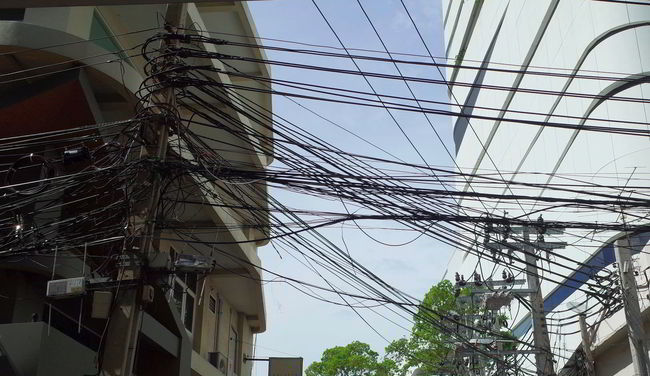 Architecture Bangkok Bangkok City Bangkok Thailand Blue Building Built Structure Cable City City Life Day Development Low Angle View No People Outdoors Power Line  Power Supply Sky Urban Exploration,