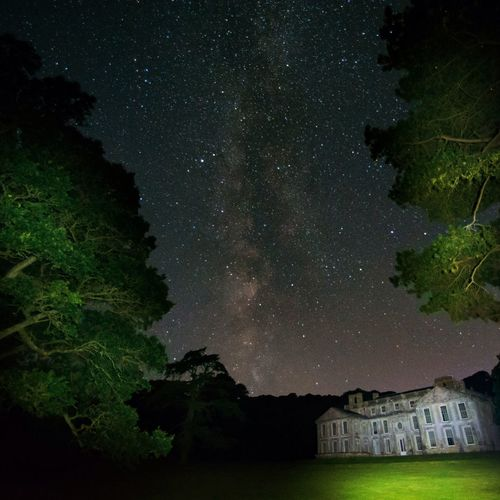 Milky Way at Appledurcombe House, Isle of Wight. Mysterious Romantic Summer Perseid Meteor Shower Spooky Haunted Abandoned Professional Composition Countryside Estate Historical Building Sky Forest Pine Trees Long Exposure Old Building  Light Painting Illuminated Night Star - Space No People Beauty In Nature Astronomy Low Angle View Outdoors Milky Way Galaxy Tree Nature EyeEmNewHere