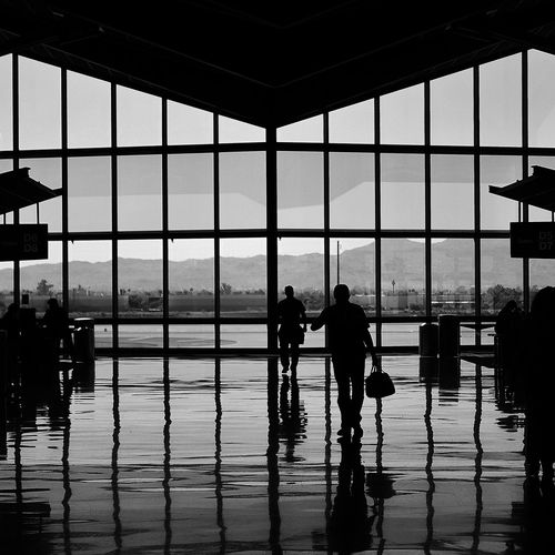 In Transit Black And White Eric Barnes Photography Phoenix International Airport Phx Reflection Silhouette Square Terminal Travel Window Interior Views