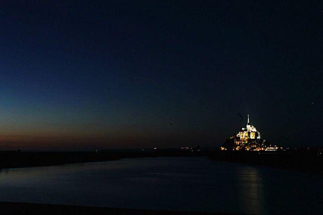 Mont Saint-Michel Landascape Night Night Lights Nofilter