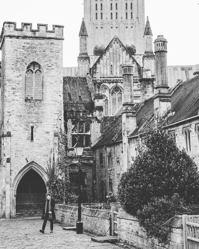 Architecture Building Exterior Cathedral Church Cobblestones Day Historical Building Homes Outdoors Somerset England Stone Building Street Vicars Close Wells