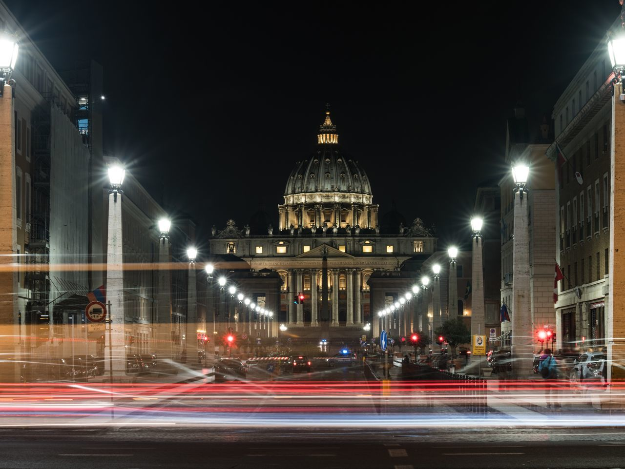 Religion in Motion. Night Architecture Illuminated Dome Building Exterior City Built Structure Speed Travel Destinations Motion Road Outdoors Night Photography Night Lights Slow Shutter Long Exposure Italia Italy❤️ Bella Italia Italy Rome Roma Rome Italy Europe Vatican