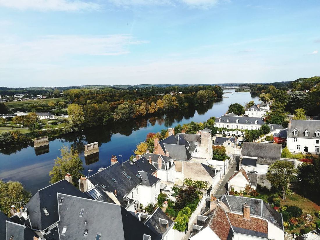 High Angle View Water No People Outdoors Day Sky Scenics Town River Loire Valley, France Amboise Château Château Royal D'amboise