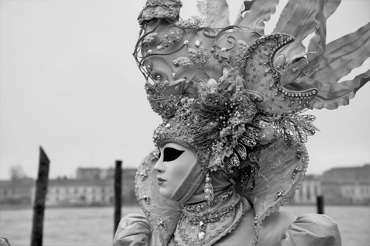 Headshot Adults Only One Person Water Young Adult Portrait Close-up One Woman Only Only Women Clear Sky Outdoors People Adult Human Body Part Day One Young Woman Only Sky Blackandwhite Beauty In Nature Carnival Crowds And Details Venetian Mask Fashion&love&beauty