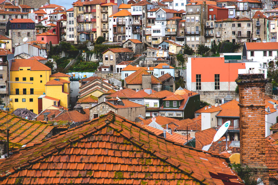 Porto in Portugal cityscape with characteristic houses cover with orange roof tiles and dirty dingy walls Architecture Attraction Building Exterior Built Structure City Cityscape Corrugated Sheet Crowded Day Destroed Destroyed Buildings Dirty Mosaic Neglected Orange Tiles Outdoors Porto Residential Building Roof Tourist Destination Townhouse Travel Destinations