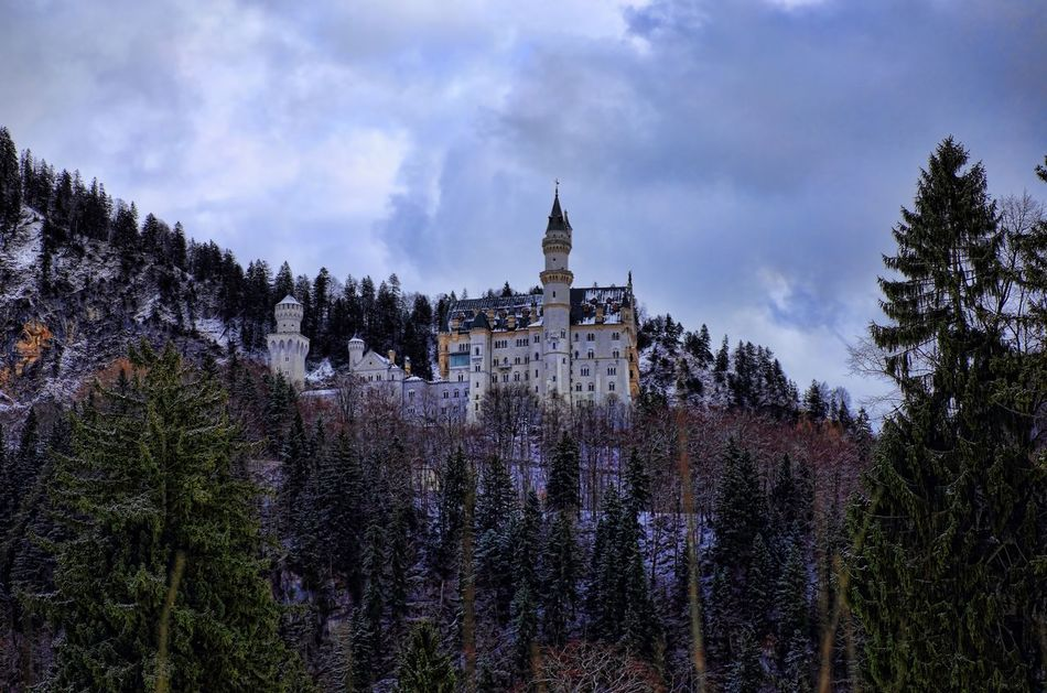 Architecture Building Exterior Built Structure Cloud - Sky Füssen, Bayern, Deutschland Neuschwanstein Castle No People Sky Snow Travel Destinations Tree