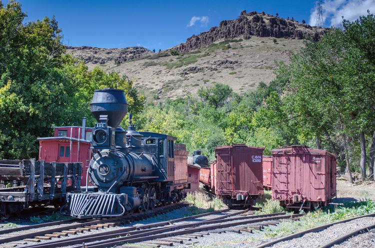 trains and box cars are on display at the Colorado train museum in Golden co. Display Editorial Photography History Railway Lines Education Colorado Train Museum Editorial  America USAtrip Colorado Museum Train Station Train Outdoors Safety Technology Metal Large Box Cars Caboose