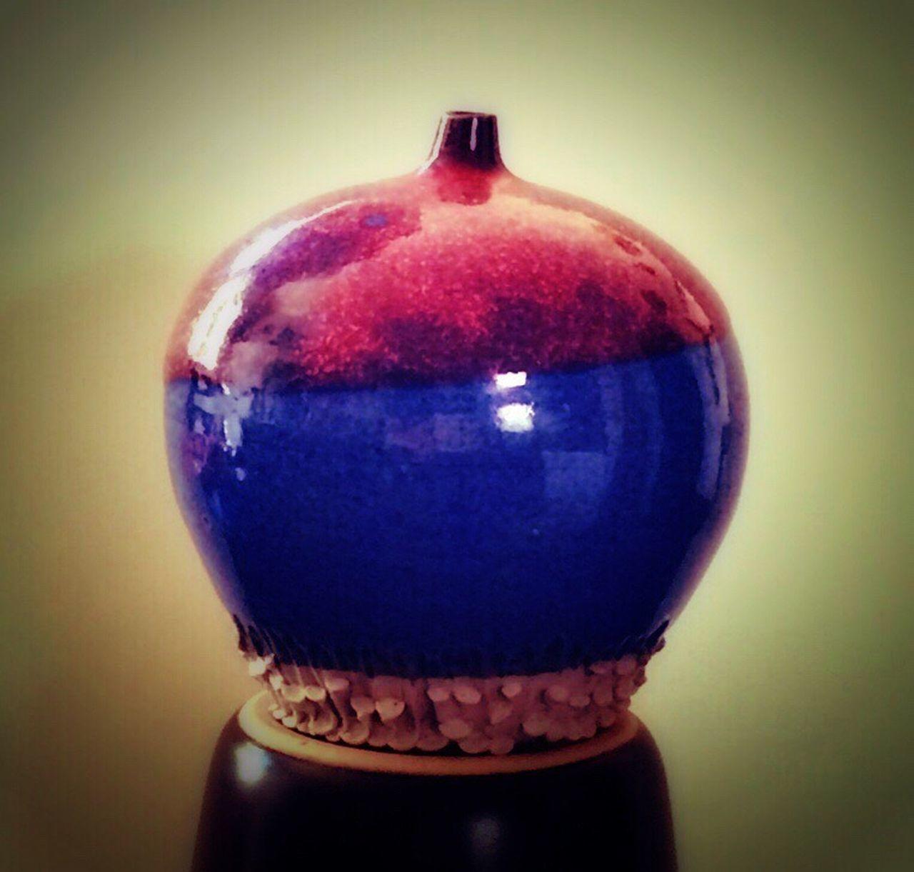 Porcelain  Ceramic Vase Art No People Indoors  Vignette Close-up Studio Shot Day My Handthrown Miniature Color Red Blue Glazed