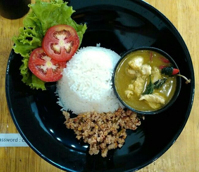 Lunch Time! Green Curry Chicken Rice Minced Pork Spicy Minced Pork Laab Moo 59 baht