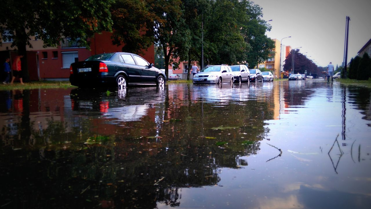 Made by Sony Xperia M4 Aqua Cars Cityscape Clouds And Sky Damage Flooded Streets Flooding Heavy Rain Icy Rain Rain Rainbox Reflection Sky Storm Street Streets Supercell Szombathely Thunderstorm Upside Down Water Reflections