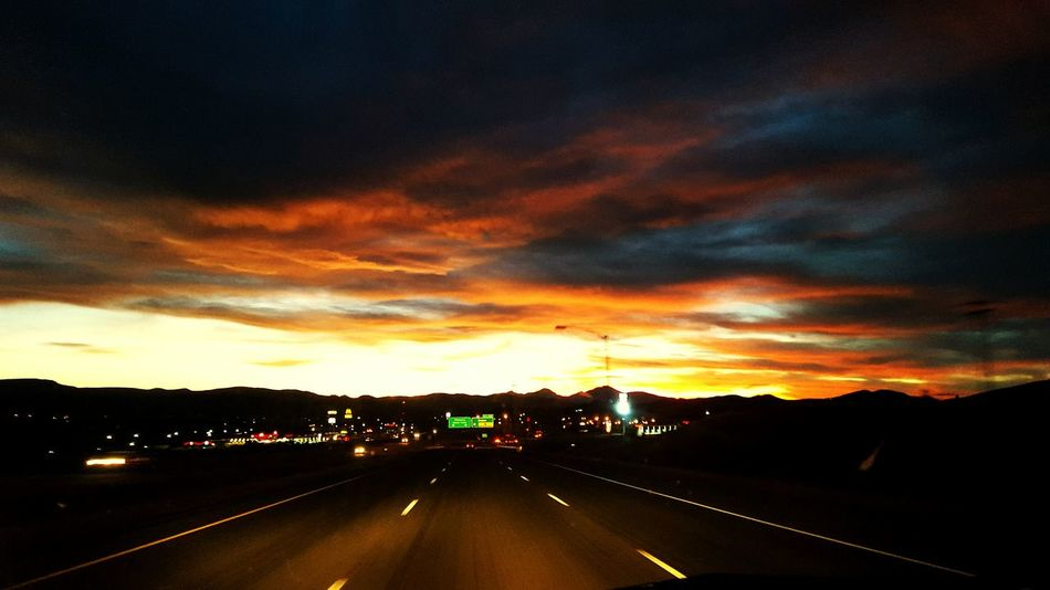 Orange Sky Sun Set Smalltown Loveit Highway Driving Home Eyeemclouds Cloudscape Beautiful Sunset Montana Sky Learn & Shoot: After Dark