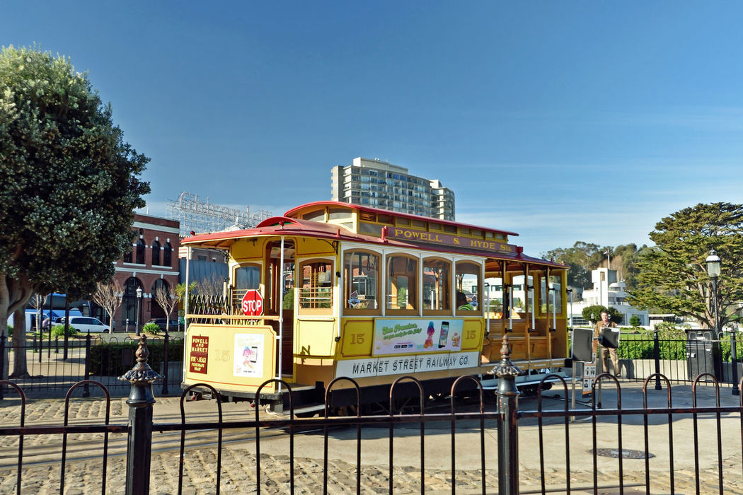 Cable Cars_San Francisco 4 Powell/Hyde Cable Car San Francisco Bay Scenic Historic Tourism Hyde St. Beach St. San Francisco Municipal Railway Cable Car Inventor: Andrew Hallidie 1873 Cable Car Turnaround