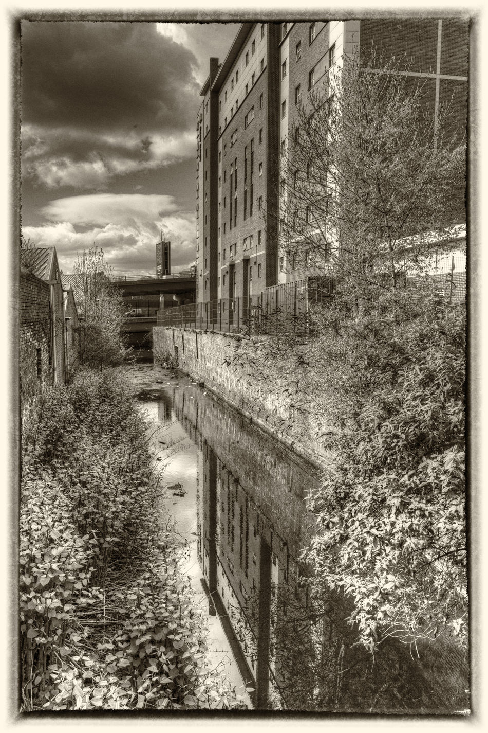 Architecture Building Exterior Built Structure Canal Cloud - Sky Day Nature No People Outdoors Sepia Sky Sky And Clouds
