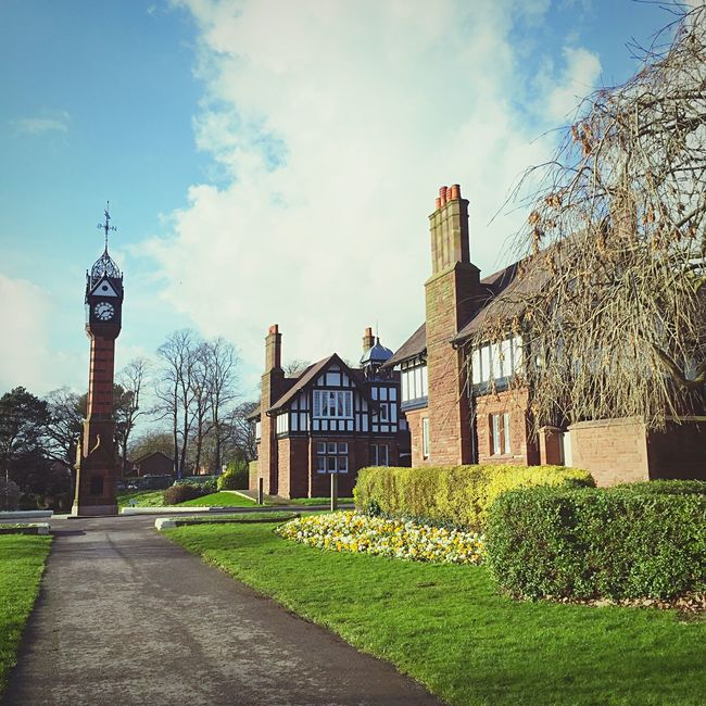 Queen's Park Beautiful Day Crewe Clocktower Walkingthedog Enjoying The Sun EyeEm Best Shots - Architecture Blue Sky Walking Around Wardens House Old Building  Blackandwhitebuilding Vintageclocktower