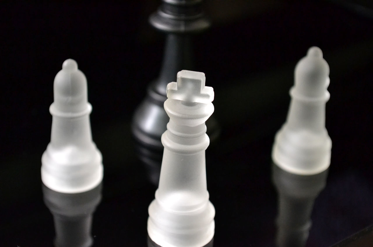 Black & White Chesspieces Chess Games Blackandwhite Photography Board Games Black&white Pawn Bishop Rook Strategy Play Game Playing Games Black And White Glass Reflection