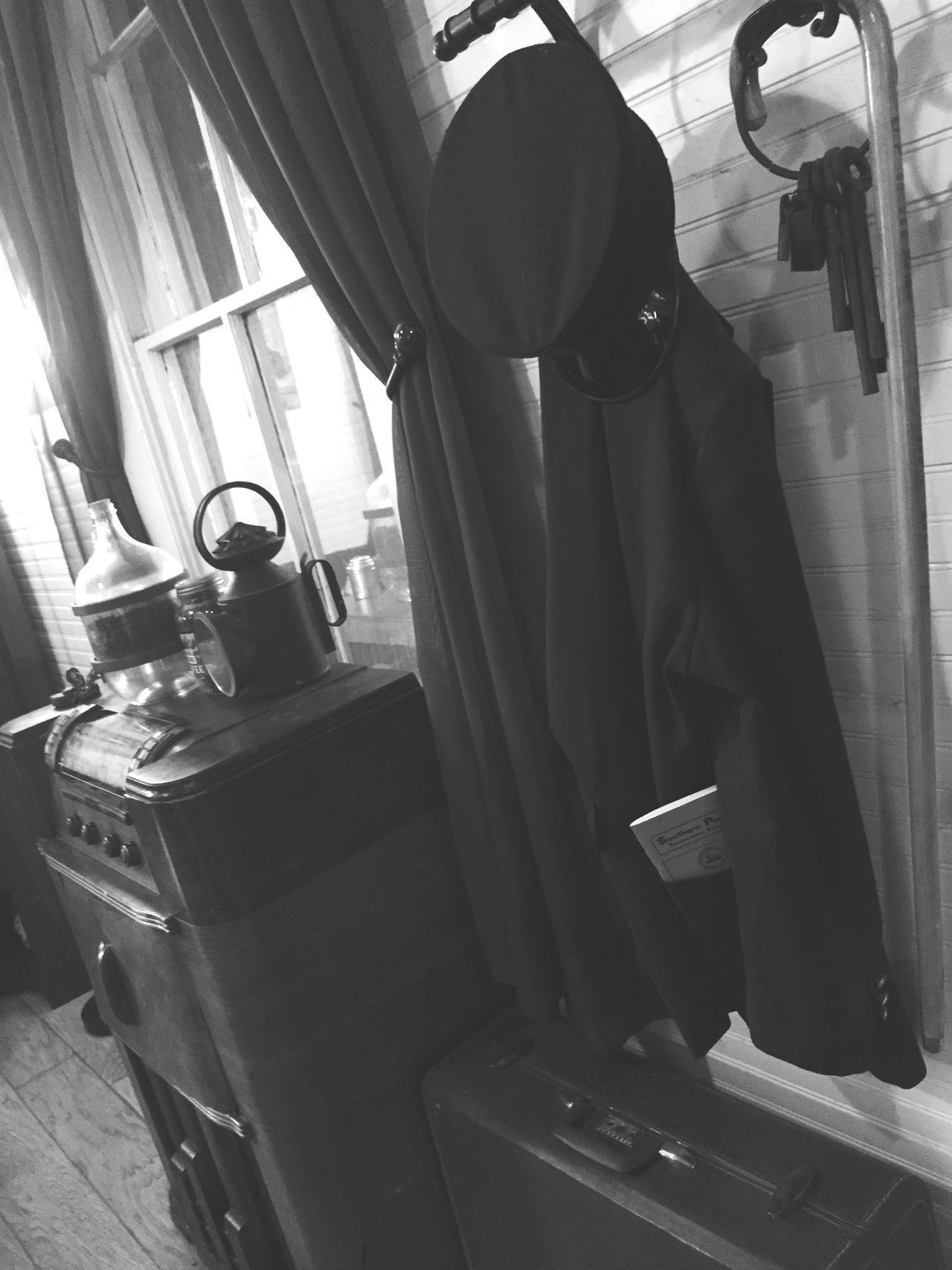 Monochrome Photography Vintage Window Jacket Hat Items Objects Music Box Radio Briefcase Emily's Cafe Finding New Frontiers
