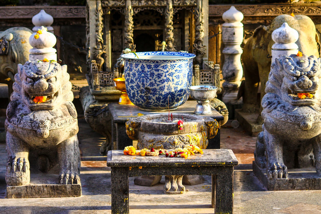 Bangkok Thailand Religion Spirituality Statue Place Of Worship Decorative Urn Incense Sculpture Wat Buddhist Temple In Thailand Buddhism Culture And Tradition