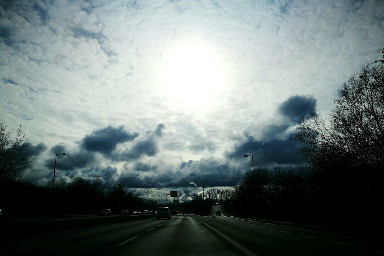 Sky Cloud - Sky Outdoors Storm Cloud Beauty In Nature Cloud Weather Nature Street Cars Sun Shining Light Cloudburst Cloude Game