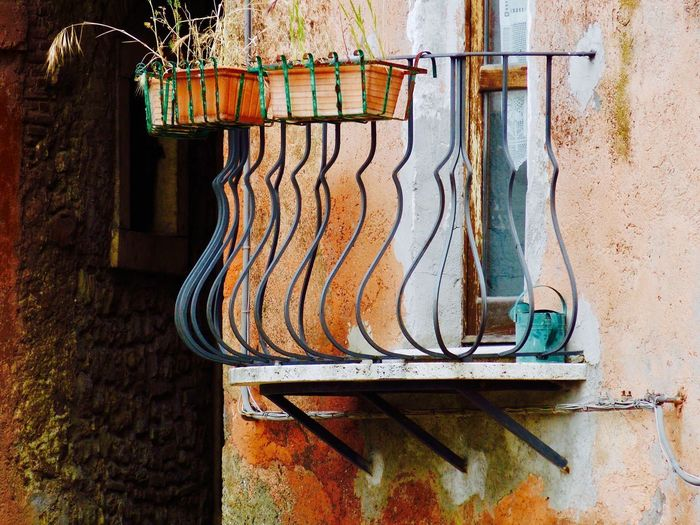 Balcony Close-up Day Iron Balcony No People Old House Old Town Orange Color Small Balcony Tranquility Vintage Photo Vintage Style