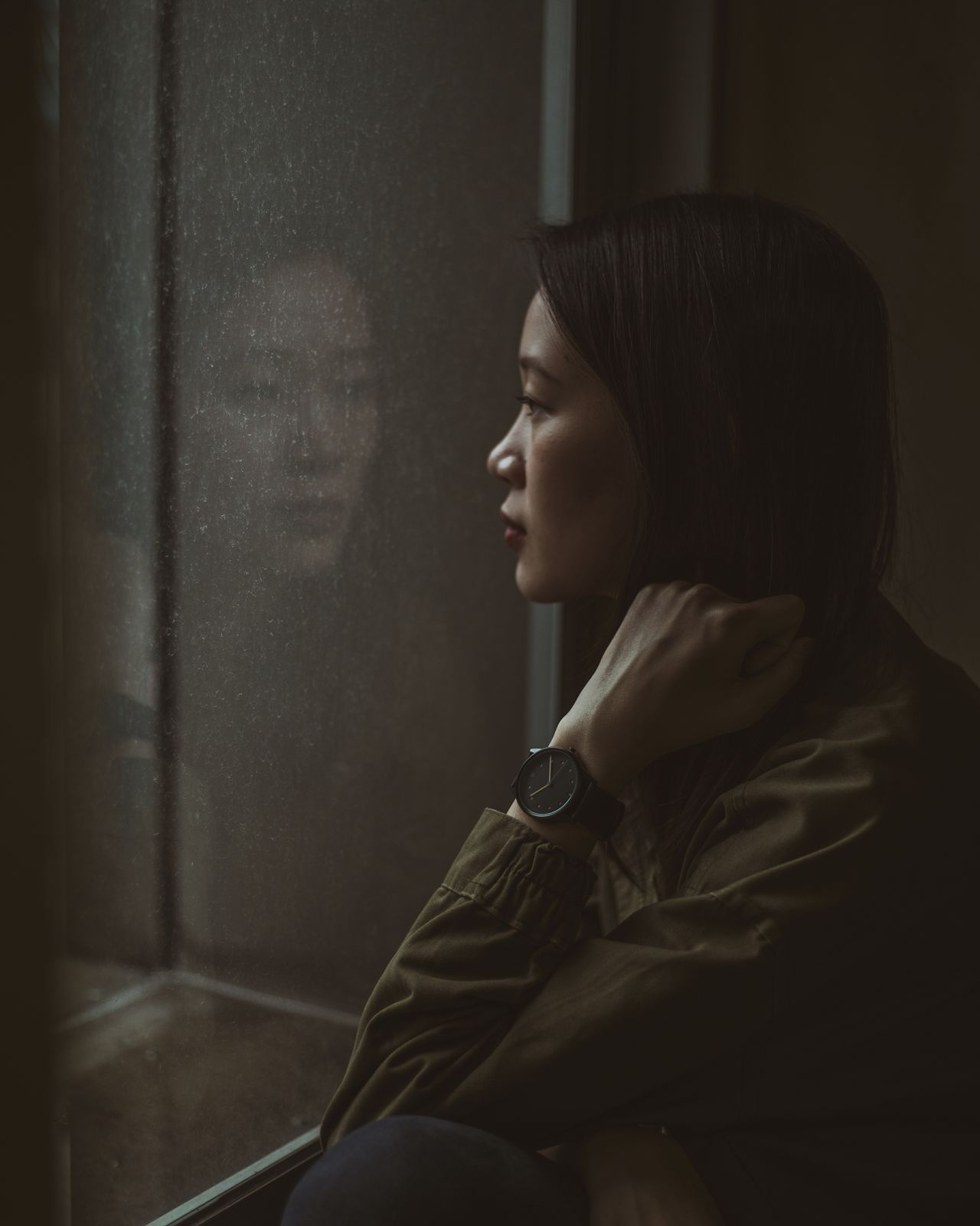 time and tide Contemplation Indoors  Portraits Of EyeEm Portrait Photography Portrait Of A Girl Portrait Of A Woman Women Of EyeEm Beautiful People Fine Art Photography Moody Portrait Reflection Reflection_collection Window Dark The City Light