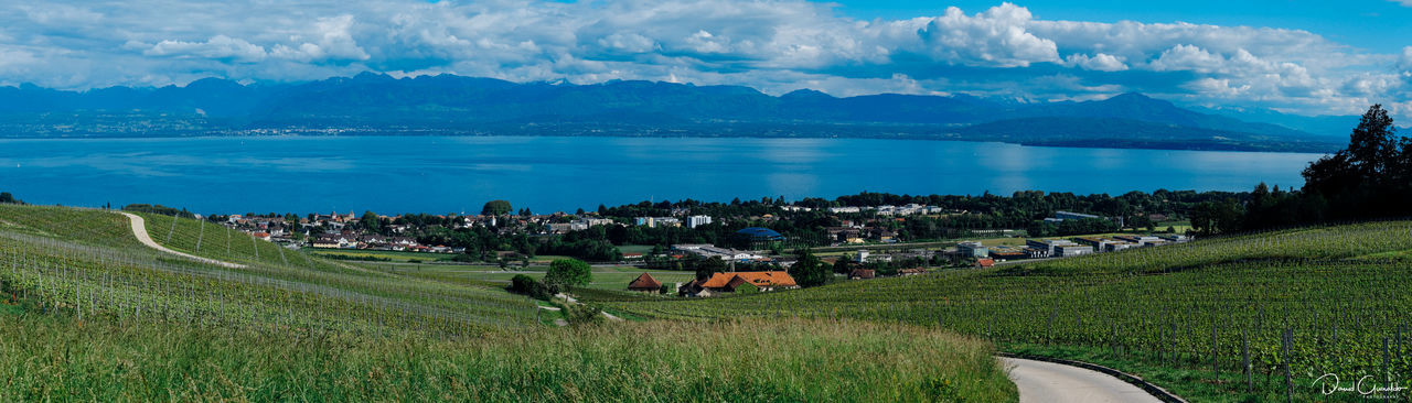 Agriculture Beauty In Nature Day Home Lake Lake View Landscape Mountain Mountain Range No People Outdoors Panoramic Scenics Sky Suisse Romande Switzerland Water