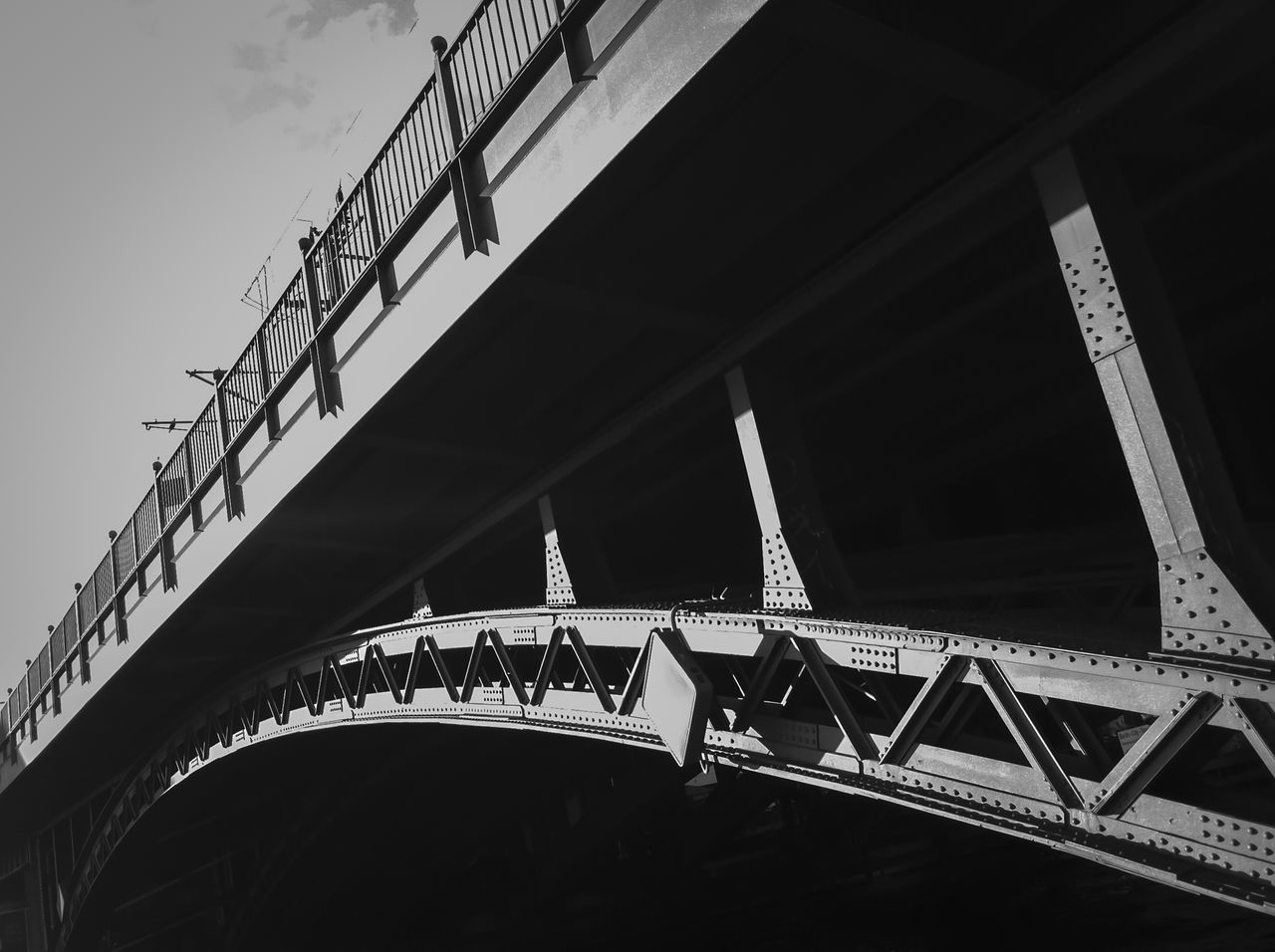 Railway bridge over Spree River at Friedrichstrasse Station Architecture Black And White Bridge Bridge - Man Made Structure Built Structure Engineering Famous Place Friedrichstrasse Station International Landmark Low Angle View Metal Metallic Railing Structure