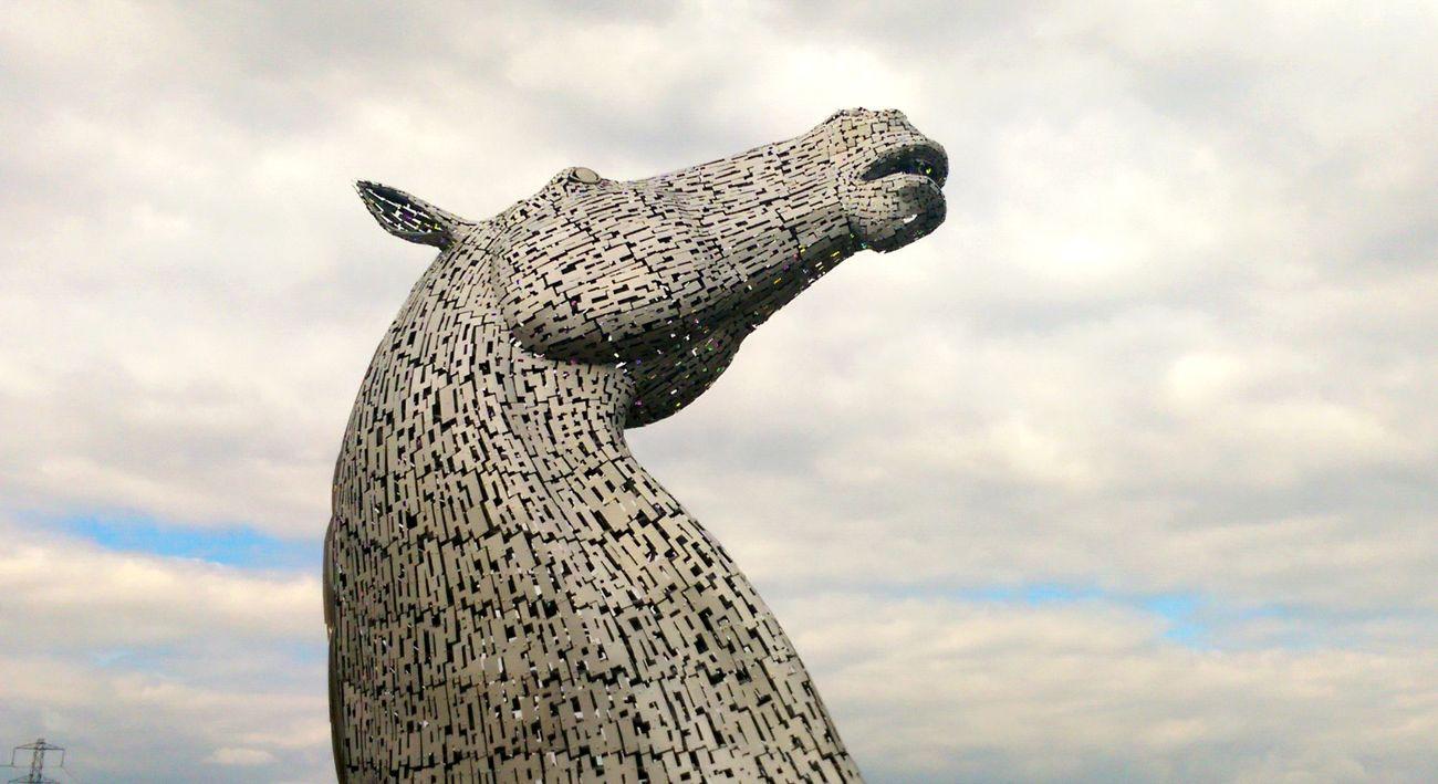 Outdoors No People Kelpies Of Falkirk Horse Metal Statue Sky
