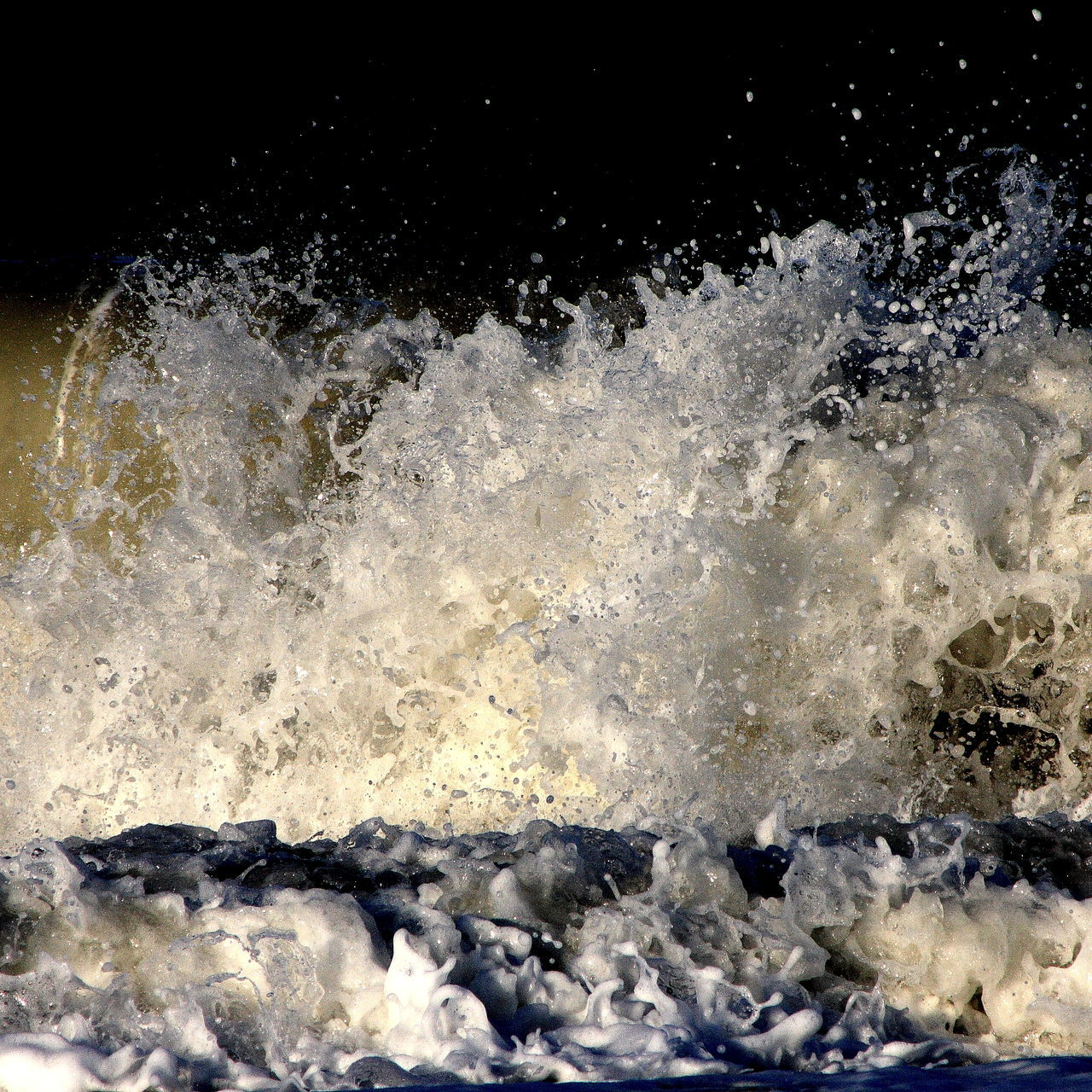 motion, no people, nature, beauty in nature, freshness, water, wave, black background, close-up, day
